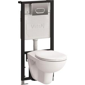 Комплект Vitra Normus унитаз с сиденьем + инсталляция + кнопка матовый хром (9773B003-7203) фото