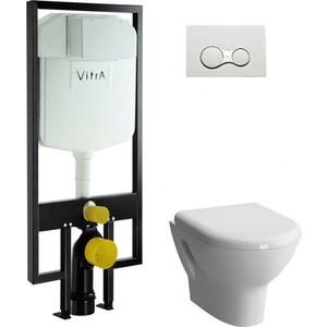 Комплект Vitra Zentrum унитаз с сиденьем + инсталляция + кнопка хром (9012B003-7205) комплект serel smart sm12 san85 beta slim подвесной унитаз инсталляция кнопка