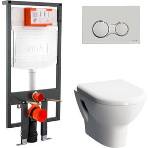 Комплект Vitra Zentrum унитаз с сиденьем микролифт + инсталляция кнопка хром (9012B003-7206)