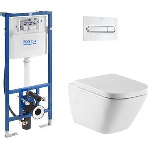 Комплект Roca Gap Clean Rim Duplo WC унитаз подвесной с инсталляцией, кнопка хром (34647L000, 890090020, 890095001)