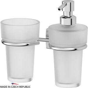 Держатель со стаканом и емкостью для жидкого мыла FBS Esperado хром (ESP 008) держатель со стаканом fbs esperado esp 006