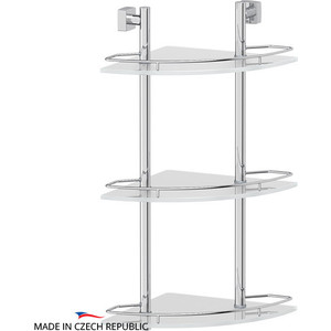 Полка стеклянная FBS Esperado 3-х ярусная угловая 28 см, хром (ESP 073) цена и фото