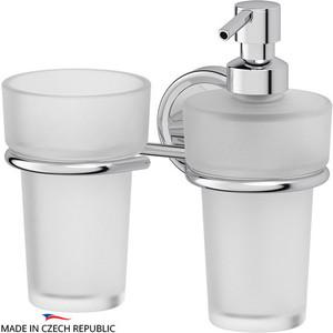 Дозатор для жидкого мыла FBS Ellea хром (ELL 008) со стаканом дозатор для жидкого мыла fbs ellea хром ell 009