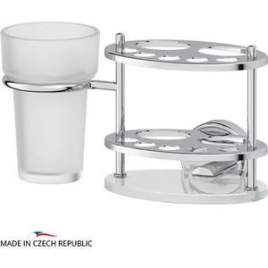 Держатель зубных щеток и пасты со стаканом FBS Ellea хром (ELL 061) Макарьев купить аксессуары в ванную