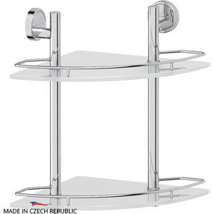 Полка стеклянная FBS Luxia 2-х ярусная угловая 28 см, хром (LUX 072) полка кухонная lemax 2 ярусная угловая навесная на рейлинг цвет бронза 23 х 23 х 43 5 см