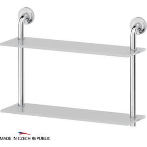 Полка стеклянная Ellux Elegance 2-х ярусная 50 см, хром (ELE 036)