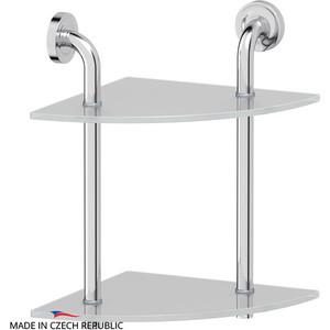 Полка стеклянная Ellux Elegance 2-х ярусная угловая 26 см, хром (ELE 052)