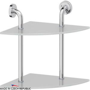 Полка стеклянная Ellux Elegance 2-х ярусная угловая 30 см, хром (ELE 053)