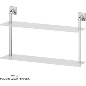 Полка стеклянная Ellux Avantgarde 2-х ярусная 60 см, хром (AVA 037)