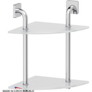 Полка стеклянная Ellux Avantgarde 2-х ярусная угловая 26 см, хром (AVA 052)