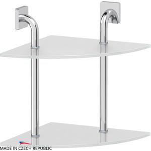 Полка стеклянная Ellux Avantgarde 2-х ярусная угловая 30 см, хром (AVA 053)