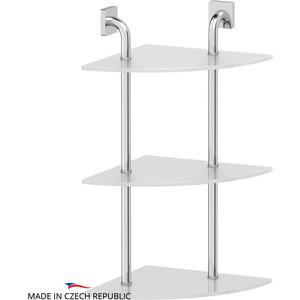 Полка стеклянная Ellux Avantgarde 3-х ярусная угловая 30 см, хром (AVA 055) цена и фото