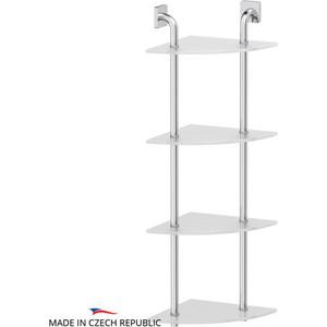 Полка стеклянная Ellux Avantgarde 4-х ярусная угловая 26 см, хром (AVA 056)