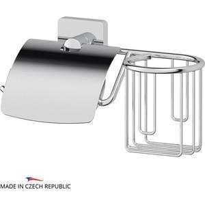 Держатель туалетной бумаги и освежителя Ellux Avantgarde с крышкой, хром (AVA 069)