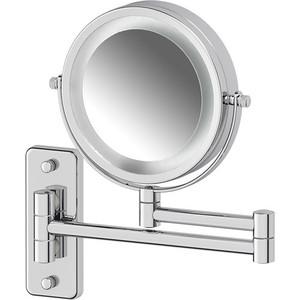Зеркало косметическое Defesto Pro двустороннее, с подсветкой и увеличением x3, хром (DEF 102)