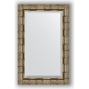 Зеркало с фацетом в багетной раме поворотное Evoform Exclusive 53x83 см, серебрянный бамбук 73 мм (BY 1136)