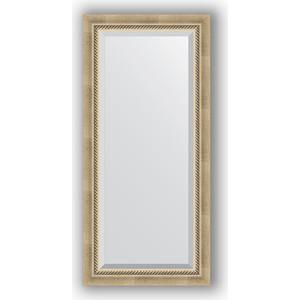 Зеркало с фацетом в багетной раме поворотное Evoform Exclusive 53x113 см, состаренное серебро плетением 70 мм (BY 1142)