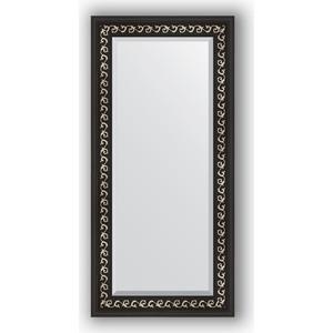 Зеркало с фацетом в багетной раме поворотное Evoform Exclusive 55x115 см, черный ардеко 81 мм (BY 1145)