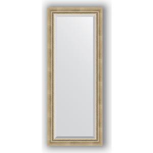 Зеркало с фацетом в багетной раме поворотное Evoform Exclusive 53x133 см, состаренное серебро с плетением 70 мм (BY 1152)