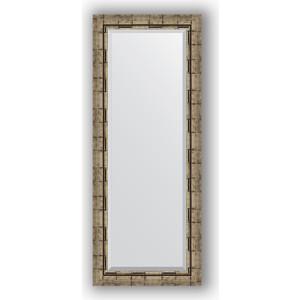 Зеркало с фацетом в багетной раме поворотное Evoform Exclusive 53x133 см, серебрянный бамбук 73 мм (BY 1156) цены