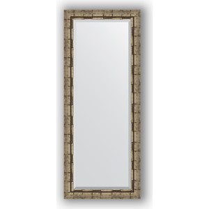 Зеркало с фацетом в багетной раме поворотное Evoform Exclusive 58x143 см, серебрянный бамбук 73 мм (BY 1166) золотой серебрянный лол