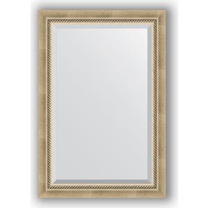 Зеркало с фацетом в багетной раме поворотное Evoform Exclusive 63x93 см, состаренное серебро с плетением 70 мм (BY 1172) зеркало evoform exclusive 133х53 состаренное серебро с плетением