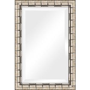 Зеркало с фацетом в багетной раме поворотное Evoform Exclusive 63x93 см, серебрянный бамбук 73 мм (BY 1176)