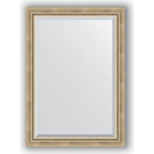 Зеркало с фацетом в багетной раме поворотное Evoform Exclusive 73x103 см, состаренное серебро плетением 70 мм (BY 1192)