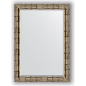 Зеркало с фацетом в багетной раме поворотное Evoform Exclusive 73x103 см, серебрянный бамбук 73 мм (BY 1196)