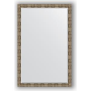 Зеркало с фацетом в багетной раме поворотное Evoform Exclusive 113x173 см, серебрянный бамбук 73 мм (BY 1216)