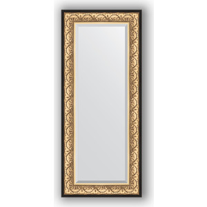 Зеркало с фацетом в багетной раме поворотное Evoform Exclusive 60x140 см, барокко золото 106 мм (BY 1261) зеркало с фацетом в багетной раме поворотное evoform exclusive 60x120 см барокко серебро 106 мм by 3502