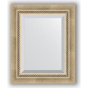 цены Зеркало с фацетом в багетной раме Evoform Exclusive 43x53 см, состаренное серебро с плетением 70 мм (BY 1354)