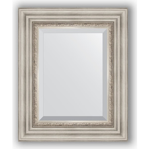 Зеркало с фацетом в багетной раме Evoform Exclusive 46x56 см, римское серебро 88 мм (BY 1369) зеркало evoform exclusive g 186х131 римское серебро