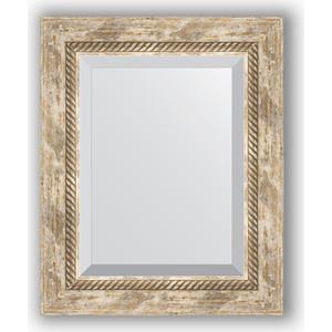 Зеркало с фацетом в багетной раме Evoform Exclusive 43x53 см, прованс плетением 70 мм (BY 3355)