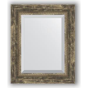Зеркало с фацетом в багетной раме Evoform Exclusive 43x53 см, старое дерево плетением 70 мм (BY 3356)