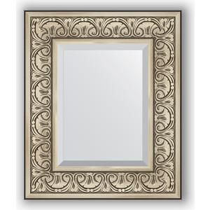 Зеркало с фацетом в багетной раме Evoform Exclusive 50x60 см, барокко серебро 106 мм (BY 3372)