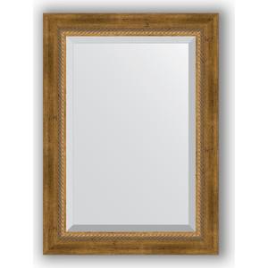 Зеркало с фацетом в багетной раме поворотное Evoform Exclusive 53x73 см, состаренное бронза с плетением 70 мм (BY 3380) зеркало evoform exclusive 133х53 состаренное бронза с плетением