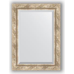 Зеркало с фацетом в багетной раме поворотное Evoform Exclusive 53x73 см, прованс с плетением 70 мм (BY 3381)