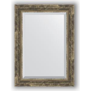 Зеркало с фацетом в багетной раме поворотное Evoform Exclusive 53x73 см, старое дерево плетением 70 мм (BY 3382)
