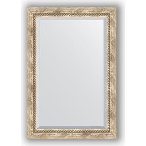 Зеркало с фацетом в багетной раме поворотное Evoform Exclusive 63x93 см, прованс с плетением 70 мм (BY 3433)