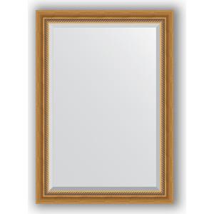 Зеркало с фацетом в багетной раме поворотное Evoform Exclusive 73x103 см, состаренное золото с плетением 70 мм (BY 3457) зеркало evoform by 3457