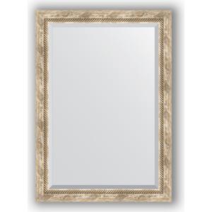 Зеркало с фацетом в багетной раме поворотное Evoform Exclusive 73x103 см, прованс с плетением 70 мм (BY 3459)