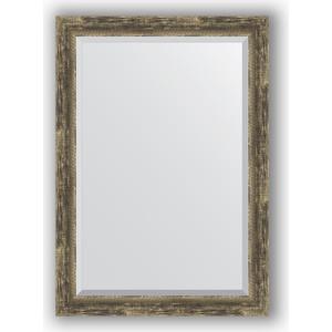 Зеркало с фацетом в багетной раме поворотное Evoform Exclusive 73x103 см, старое дерево с плетением 70 мм (BY 3460) фото