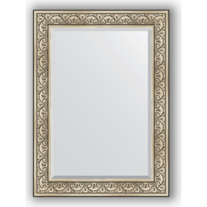Зеркало с фацетом в багетной раме поворотное Evoform Exclusive 80x110 см, барокко серебро 106 мм (BY 3476)