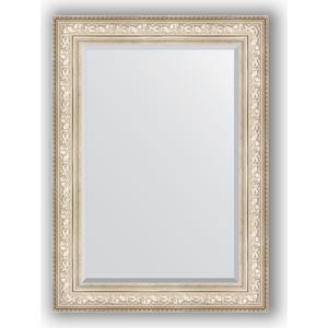 Зеркало с фацетом в багетной раме поворотное Evoform Exclusive 80x110 см, виньетка серебро 109 мм (BY 3478) зеркало с фацетом в багетной раме поворотное evoform exclusive 80x110 см виньетка античная бронза 109 мм by 3477