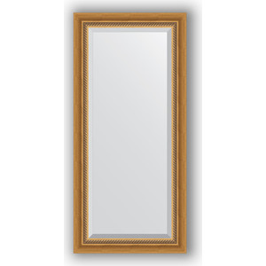 Зеркало с фацетом в багетной раме поворотное Evoform Exclusive 53x113 см, состаренное золото плетением 70 мм (BY 3483)