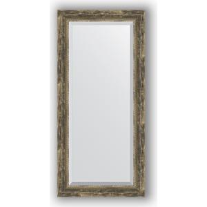 Зеркало с фацетом в багетной раме поворотное Evoform Exclusive 53x113 см, старое дерево плетением 70 мм (BY 3486)