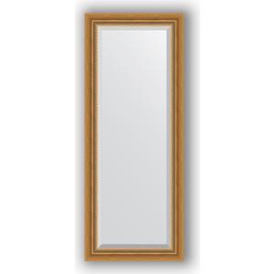 Зеркало с фацетом в багетной раме поворотное Evoform Exclusive 53x133 см, состаренное золото с плетением 70 мм (BY 3509)