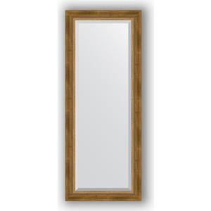 Зеркало с фацетом в багетной раме поворотное Evoform Exclusive 53x133 см, состаренное бронза с плетением 70 мм (BY 3510)
