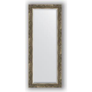 Зеркало с фацетом в багетной раме поворотное Evoform Exclusive 53x133 см, старое дерево с плетением 70 мм (BY 3512)